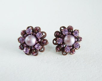 Purple Crystal Earrings. Vintage Style Crystal Jewelry. Crystal Studs. Handmade Unique Gift. Gift Boxed Jewelry. Gift Ideas for Her