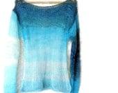 Aqua Mohair Sweater Women's Blouse Loose Knit Sweater