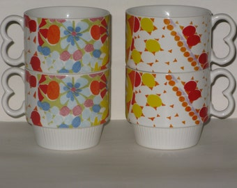 Colorful Retro Coffee Mugs Vintage Heart Handle Flowered Stacking Cups
