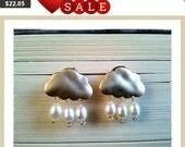Cloud Earrings, Cloud with Pearl Stud Earrings -Drop, Dangle, Glass Earrings, post earrings, Studs Earrings, Pearl Earrings, Christmas Gifts
