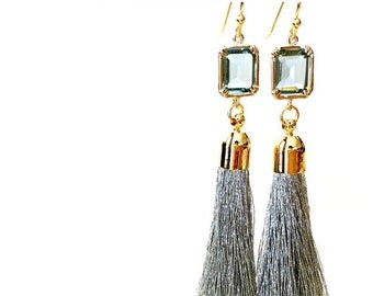 Tassel Earrings, Gray earrings, GreyEarrings, Wedding Jewelry Bridesmaid Jewelry Bridal Jewelry