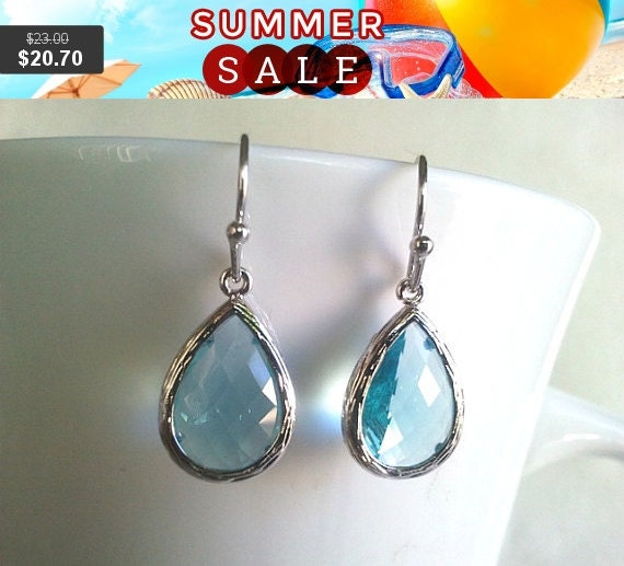 Aquamarine long teardrop Drop Silver ,Drop, Dangle, Earrings,bridesmaid gifts,Wedding jewelry