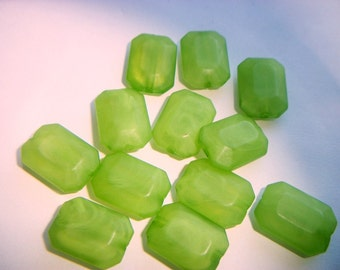 12 - Vintage Lucite Lime Green Rectangle Beads  # YYY 11