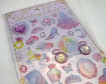 Kawaii Japan Sticker Sheet Assort: Fantasy Tiara Series CINDERELLA  Pastel Silhouette Epoxy Glittery Rhinestones Carriage Castle Prince