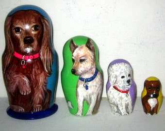 Custom pet  portrait Custom pet nesting doll / by photo   4 pieces