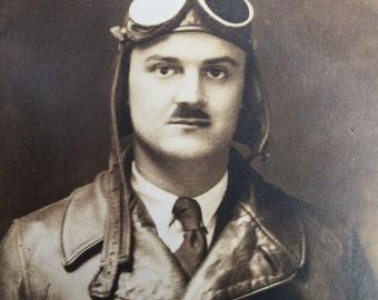 Barnstormer Stunt Pilot Antique Real Photo Postcard RPPC 1930s Aviator Goggles Happy Landings