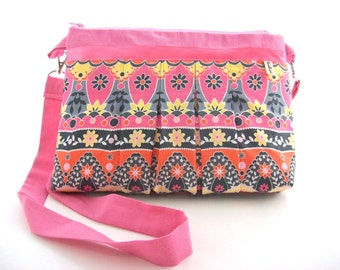 pink canvas bag pleated fabric-girly crossbody bag-romantic canvas handbag