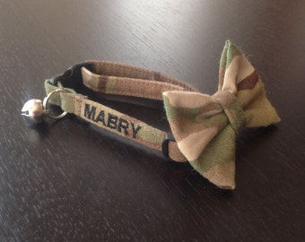 Cat Collar Bow Tie Set Embroidered With Your Cats Name - Military/Navy/Army/Air Force/Marines  - Availlable In 3 Sizes