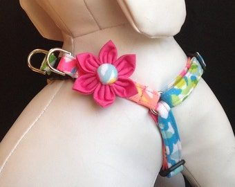 Step in Dog Harness Flower Set/Lilly Pulitzer Lovers Coral - Colorful Adjustable Step In Dog Harness Size XXS, XS, S, M
