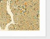 NEW YORK City MAP Giclee Fine Art Print, Modern Art for your Home Decor