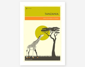 VISIT TANZANIA, African Travel poster, Retro Wall art for the Home Decor, Giclee Fine Art Print