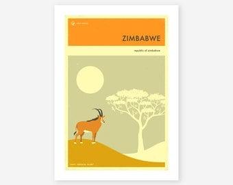 ZIMBABWE TRAVEL POSTER (Giclée Fine Art Print/Photo Print/Poster Print) by Jazzberry Blue