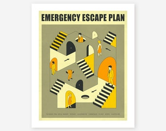 EMERGENCY ESCAPE PLAN 3, Giclée Fine Art Print, Minimal, Abstract, Surreal Artwork by Jazzberry Blue
