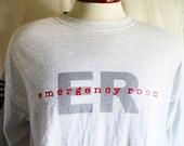 vintage 90's ER Emergency Room t.v. show drama heather grey long sleeve graphic t-shirt black red logo print logo unisex crew neck tee XL