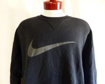 vintage 90's Nike black fleece grey swoosh logo graphic sweatshirt unisex v-patch crew neck pullover jumper oversized medium fits like an XL