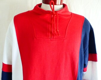 vintage 80's 90's Pacer color block vertical diagonal stripe red white blue fleece half-zip cowl neck sweatshirt pullover oversized medium