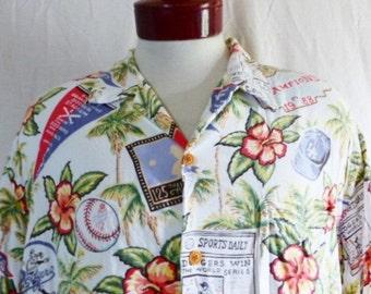 Aloha vintage 80's Reyn Spooner Los Angeles L.A. Dodgers 1988 MLB Champions white rayon hawaiian shirt floral hibiscus  palm tree print XL