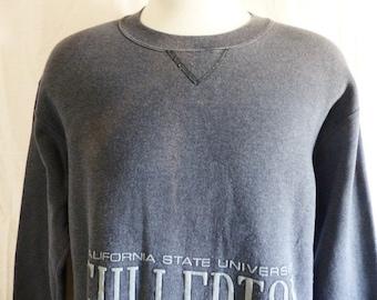Go Titans vintage 80's 90's California State University Fullerton charcoal grey fleece tonal grey puffy print logo graphic sweatshirt large