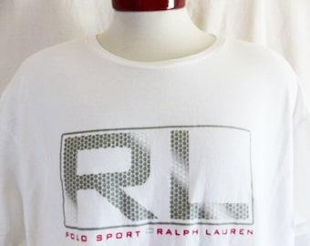 vintage 90's Ralph Lauren RL Polo Sport white graphic t-shirt grey red gradient geometric designer logo print crew neck unisex loose boxy XL