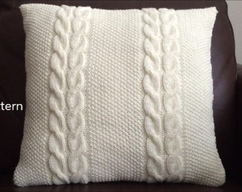 PDF Pattern, How To Knit A Cable And Seed Stitch Pillow 16in x 16in