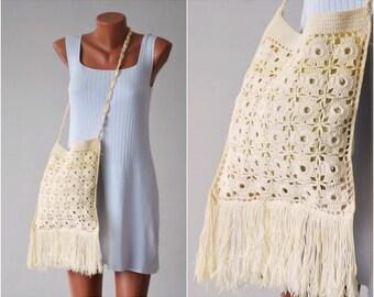 Vintage Crochet Tote Bag