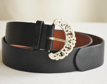 Black Genuine Leather Belt Artsy FLORAL Vintage Unique Steel Clasp, SALE