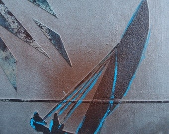 Acrylic Painting on Canvas Board: Hobiecat Sailboat
