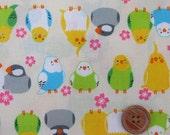 Parakeets Design Print Japanese Fabric White - 110cm x 50cm