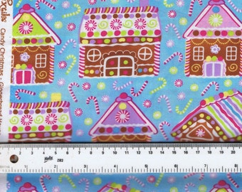 Fat Quarter Candy Christmas Gingerbread Houses 100% Cotton Quilting Fabric