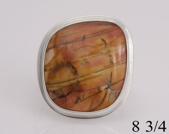 Picasso jasper and sterling silver ring, size 8 3/4, #728.