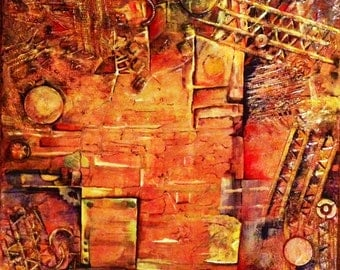 Original art,  abstract, large, mixed media, acrylic, contemporary, textured, revival, warm colors