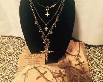 Multi strand chain w/ cosses& charms