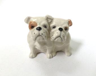 Beswick England Bulldog Pair - Figurine - Ceramic China - Bulldogs Figure - Seated Model 3384 - Dog Lover
