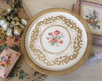 Vintage Tole tray - Stenciled Gold - Reticulated - Roses Floral Flowers - Toleware - Shabby Cottage Chic