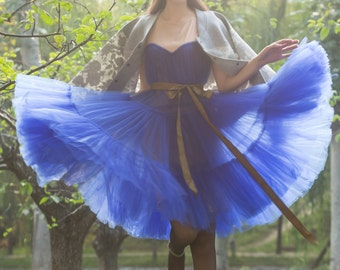 tulle skirt tutu skirt tulle dress tutu skirt tulle skirt  yarn tutu dress charming dress princess tulle dress in color blue