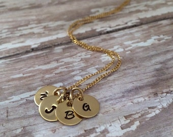 4 Initial Necklace, Personalized 14kt Gold Fill, Custom Made Hand Stamped, Monogram Tiny Four, 4 Initial Letter, Name, Mommy Necklace