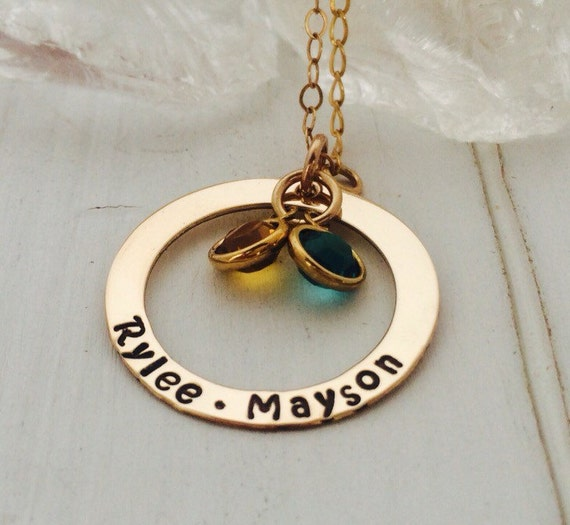 Gold Name Necklace, Personalized Mother Necklace, 14kt Gold Filled, Custom Grandmother Necklace, 2 name nana necklace, Birthstone Jewelry
