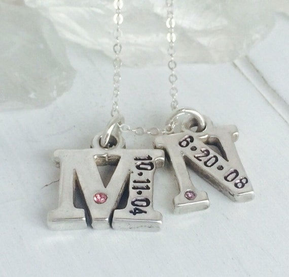 Birthdate Initial, 2 Letter & date Initials, Sterling Silver Initial Necklace, Personalized Mother Necklace, Initial date with Birthstones