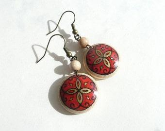 Hand Painted Earrings, Red Dangle Earrings, Wood Art Ear Jewelry, Orient Design, Handmade Jewelry