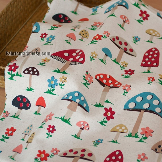 Natural beige linen blend fabric cute colorful mushroos for Cute childrens fabric