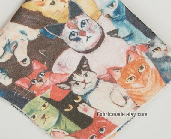 Cute Cat Fabric, Vivid Cats Canvas Fabric, Bag Cushion Fabric- 1/2 Yard