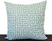 Pillow, Throw Pillow, Pillow Sham, Cushion Cover light village blue natural greek key