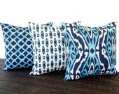 Throw Pillows, Pillow Covers, Pillow Shams, Set of Three Cushion Covers, Ikat Navy and Light Blue Seaside Collection