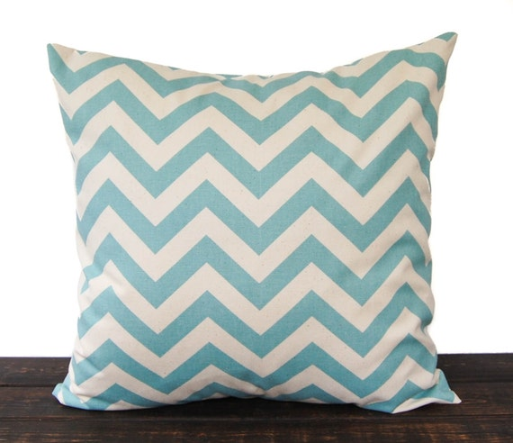 Throw Pillow, Pillow Cover, Cushion Cover smokey blue natural chevron