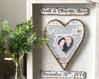 Anniversary Gift - Wedding Gift Couple - Shadow Box Decor - Personalized Heart