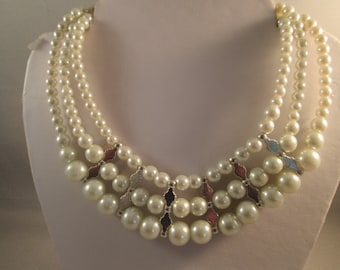 3 Strand Choker Necklace with White Pearl and Clear Crystal