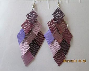 Shades of Purple Layered Dangle Rarrings