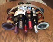 Wine Cart wineholder made from recycled industrial vintage spools and barrel rings