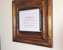 Huge 11 x 14 distressed antique gold colored tin ceiling tile picture frame