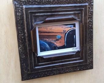 5 x 7 distressed dark blue metal color antique tin ceiling tile picture frame